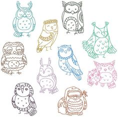 Redwork Cutie Hootie Owls Machine Embroidery Patterns / Designs 4x4 and 5x7 Hoop INSTANT DOWNLOAD