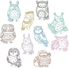 Redwork Cutie Hootie Owls Machine Embroidery Patterns / Designs 4x4 and 5x7 Hoop INSTANT DOWNLOAD