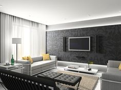 Wallpapers are back and the bigger the design the better.  The curves on this paper soften the straight lines of furniture and prevent the TV from being the focal point.