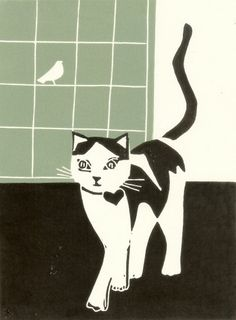 Contemporary Cat Print - Linocut Block Print Original - Green Black and White Modern - Signed