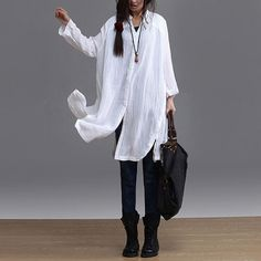 spring white irregular loose cotton shirt