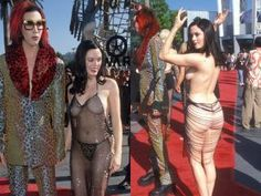 """The crowd had to rub their eyes to make sure they were seeing Rose McGowan correctly she arrived to the 1998 MTV Video Music Awards. The """"Scream"""" actress bared it ALL in a black beaded """"dress,"""" making it one unforgettable red carpet moment!"""