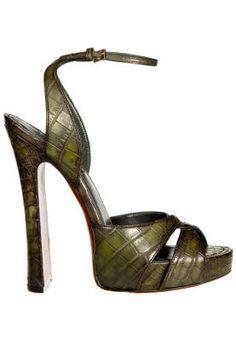 Fall and Winter Heels: Louis Vuitton Green Alligator Open Back Open Toe Dramatic Pump