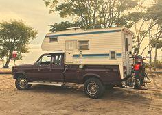1985 Ford F-250 Dually 4X4 Diesel 6.9 IH Banks Turbo with 1973 Tortoise Slide in Camper 1984 Honda XL-350