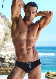 images cock sexy Bodybuilder sea beach