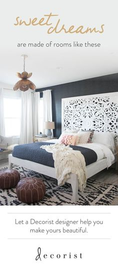 A Must-See Bali-Inspired Bungalow Bedroom Makeover - See how we turned Audrina Patridge's nondiscript bedroom into a Bali boho bungalow. Designed virtually), delivered and installed in 1 month-just in time for baby Kirra's arrival! Bedroom Bed, Dream Bedroom, Bedroom Furniture, Bedroom Decor, Bed Room, Bali Bedroom, Furniture Ideas, Bedroom Ideas, Wicker Bedroom