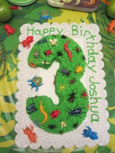Bug cake for bug birthday party. This is simple enough. One number for each child, decorated with bugs and butterfly toys that I can buy (both on each). Bug Birthday Cakes, 6th Birthday Parties, Third Birthday, Birthday Bash, Birthday Ideas, Bug Cake, Fondant, Bugs, First Birthdays