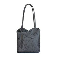Multi-Way Dark Grey Ostrich Leather Shoulder Bag/Backpack - £49.99