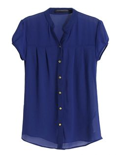 To find out about the Blue Stand Collar Short Sleeve Buttons Chiffon Blouse at SHEIN, part of our latest Blouses ready to shop online today! Women's Dresses, Casual Dresses, Casual Outfits, Kurta Designs, Blouse Designs, Frock Fashion, Fashion Outfits, I Dress, Shirt Dress