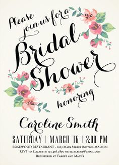 Printable Bridal Shower Invitation - Vintage Floral Invitation - Spring/Summer Bridal Shower