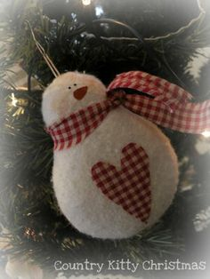 felted snowman with gingham scarf and heart (Christmas or winter holiday ornament)