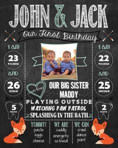 Twins Fox Birthday Chalkboard Poster, Sign DIGITAL FILE