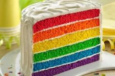 "Full-spectrum ""fabulous"" is the order of the day when you serve this treat at a kid's birthday or half birthday celebration. The colorful cake is a snap to pull together with Betty Crocker™ SuperMoist® vanilla cake mix and gel food coloring. Food Cakes, Cupcake Cakes, Purple Cakes, Red Cake, Layer Cake Recipes, Dessert Recipes, Dessert Ideas, Mini Desserts, Rainbow Desserts"