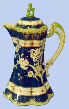NIPPON HAND PAINTED PORCELAIN CHOCOLATE POT.