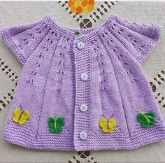 """Here is a demonstration of How to Knit Integrated Vandyke Lace Vest with flowers on the front and crochet edging One piece Please, check out m Baby Knitting Patterns, Crochet Baby Dress Pattern, Baby Sweater Knitting Pattern, Baby Dress Patterns, Knitting Designs, Free Knitting, Knit Crochet, Lila Baby, Cardigan Bebe"