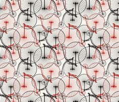 """""""Penny Farthing red fabric by melissamelissa on Spoonflower"""" is absolutely adorable (love the old-timey bikes :D)"""