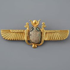 Antique Scarab Pin Victorian Egyptian Revival 'Solar Winged'