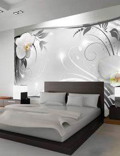 Fototapete Silber abstrakt 280 cm x 400 cm Brayden Studio Luxury Bedroom Design, Bedroom Bed Design, Home Interior Design, House Wall Design, Living Room Decor, Bedroom Decor, Modern Bedroom Furniture, Bedroom Wall Designs, Luxurious Bedrooms