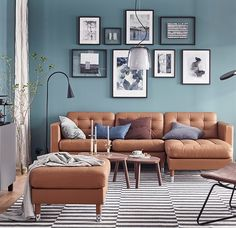Living Room Furniture,Quilted LANDSKRONA sofa in light tan leather with a grey BESTA storage unit in an aqua blue room. Teal Living Rooms, Living Room Color Schemes, Living Room Sofa, Living Room Designs, Blue And Brown Living Room, Living Room Decor With Brown Sofa, Stylish Living Rooms, Brown Sofa Decor, Living Room Vintage