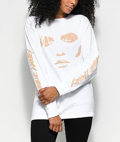 Obey Debbie Harry Visage White Long Sleeve T-Shirt