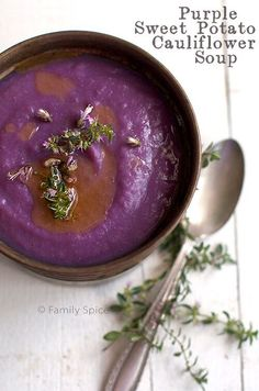 Vegan Purple Sweet Potato and Cauliflower Soup - perfect for Halloween!!