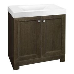 ba5d574aee W Bath Vanity in Gray Oak with Cultured Marble Vanity Top in White with  White Sink. The Home Depot
