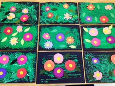 More Kindergarten Warhol Gardens-painting with sponges and toy cars- Cut and… Kindergarten Art Lessons, Art Lessons Elementary, Andy Warhol, Flower Crafts, Flower Art, Kindergarden Art, 2nd Grade Art, Preschool Art, Preschool Garden