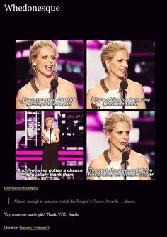 Sarah Michelle Gellar at the People's Choice Awards thanking the Buffy fans.