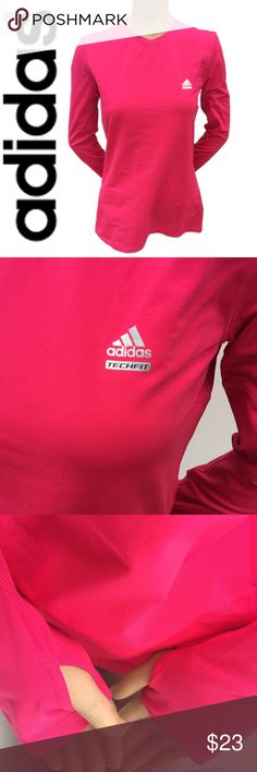 NWOT Adidas Techfit Climalite Long Sleeve True Pink • Climalite techfit • long sleeve • soft material • stretchy • great for chilly weather • perfect for running • moisture-wicking fabric • long Sleeve keeps out the cool • thumb holes for extra coverage • Sz. M • make me an offer Adidas Tops Tees - Short Sleeve