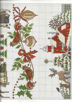 Christmas Farm (at bottom of St. Santa Cross Stitch, Cross Stitch Borders, Cross Stitch Art, Cross Stitch Flowers, Cross Stitching, Cross Stitch Embroidery, Cross Stitch Patterns, Christmas Farm, Christmas Cross