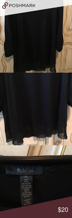 Style and Company black blouse Super cute black with sheer bottom.  Barely worn. Lowball offers will not be accepted. Style & Co Tops Blouses
