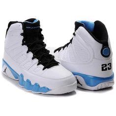 8b2c46b0df7601 Air Jordan 9 Retro Sneakers White Baby-Blue Black - Fashions-R