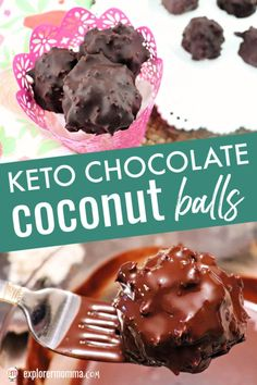 Keto chocolate coconut balls are the answer for low carb candy. Easter candy take that! These are a delicious sugar-free chocolate coconut treat. Candy Recipes, Keto Recipes, Snack Recipes, Dessert Recipes, Paleo Dessert, Keto Snacks, Dessert Ideas, Low Carb Candy, Keto Candy
