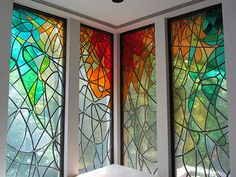 Stained glass windows in the middle school library at De La Salle College. Glass Painting Designs, Stained Glass Designs, Stained Glass Art, Stained Glass Windows, Paint Designs, Modern Stained Glass Panels, Stained Glass Cookies, Window Art, 2d Art