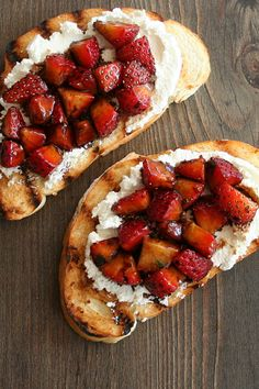 "Strawberry Goat Cheese Bruschetta | ""The way the tangy, slightly salty goat cheese works with the syrupy, balsamic-coated strawberries and crispy, charred bread is a thing of beauty."""