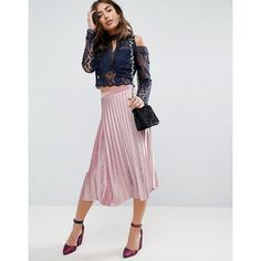 ASOS Pleated Midi Skirt in Velvet (75 AUD) ❤ liked on Polyvore featuring skirts, pink, pink midi skirt, velvet skirt, elastic waist skirt, high waisted pleated skirt and pink skirt