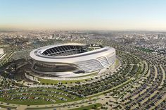 The new design of the San Diego Chargers and Oakland Raiders stadium in Los Angeles has been unveiled last Monday. Nfl Stadiums, World Cup Stadiums, San Diego Chargers, Oakland Raiders, Nfl Rams, Stadium Architecture, Soccer Stadium, Basketball, Building Exterior