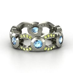 peridot and topaz rings | Palladium Ring with Blue Topaz & Peridot | Locked In Band | Gemvara