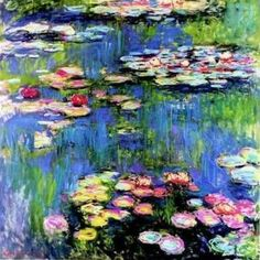 free, large cross stitch pattern of Monet's water lilies