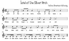Land of the Silver Birch Pair with Canoe Song Beth's Music Notes: Partner Songs… Learn Singing, Singing Lessons, Music Lessons, Singing Games, Singing Tips, School Songs, Music School, Native American Songs, Campfire Songs