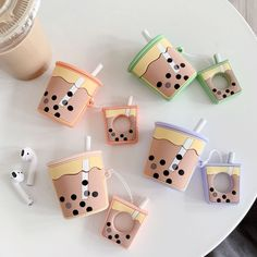 For AirPods Case Cute Milk Tea Pattern Protective Cover For iPhone 7 Bluetooth Wireless Earphone Case For Airpods 2 Accessories Smartphone Case, Case Iphone 6s, Iphone 8, Cute Ipod Cases, Airpods Apple, Apple Pin, Apple Case, Bubble Milk Tea, Bluetooth Wireless Earphones