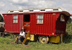 This nice example was built in 1933 Gypsy Caravan, Gypsy Wagon, Van Living, Tiny House Living, Adaptive Design, Bus Camper, Campers, Rv Trailers, Travel Trailers