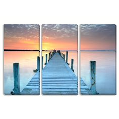 The Pier Triptych Art is printed over three separate gallery wrapped canvases that each come ready to hang. Offered in two different sizes, each set measures either 30 inches high x 45 inches wide or