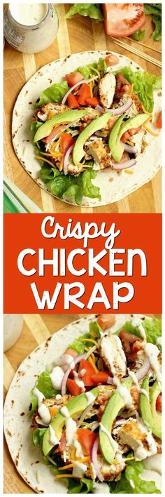 Crispy Chicken Wrap - Stuffed with panko-coated chicken, diced tomatoes, sliced red onion, avocado, shredded cheese, and ranch dressing. It makes a great weeknight dinner or lunch idea!