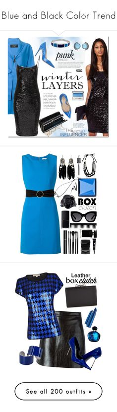 """""""Blue and Black Color Trend"""" by yours-styling-best-friend ❤ liked on Polyvore featuring black, Blue, TheDress, Dsquared2, Deimille, Clinique, Accessorize, women's clothing, women's fashion and women"""