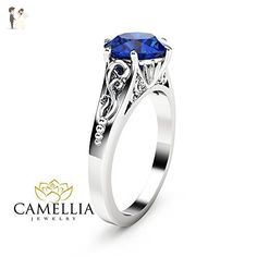 2CT Blue Sapphire Engagement Ring 14K White Gold Sapphire Solitaire Ring - Wedding and engagement rings (*Amazon Partner-Link)