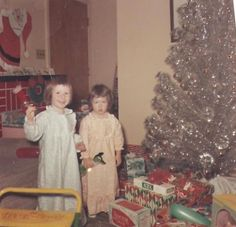 Vintage Christmas 1966. I SWEAR I looked exactly the same way back then-the pixie cut & the nightie!
