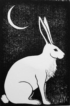 'Hare and crescent moon' by Viza Arlington (linocut)