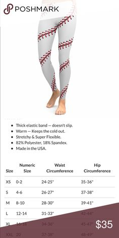 Baseball mom or sis leggings size 8 Brand new size says Lg but fits like a size Misses 8. I listed this as 1 size but these are listed size L but they fit a size 8 very tight ankle area.Adorable but the Company Brave New look will not exchange or take returns:(   My loss your gain Pants Leggings