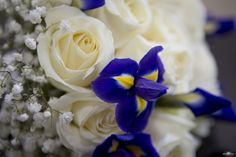 wedding flowers bouqet blue cream ivory navy